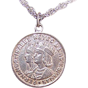 Vintage 750 Silver Charm from Spain - Ferdinand & Isabella Coin!