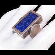 Retro Modern STERLING SILVER & Lapis Lazuli Fashion Ring!