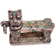 Vintage STERLING SILVER & Turquoise Dot Sacred Tiger Charm from Chichen-Itza, Mexico!