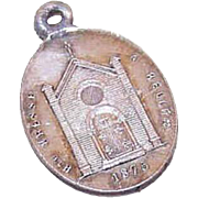 Dated 1875 FRENCH SILVERPLATE Religious Medal/Charm - Notre Dame de Prompt-Secours