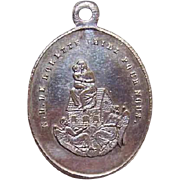 C.1900 FRENCH SILVERPLATE Religious Medal - Virgin & Child/Notre Dame de Lorette