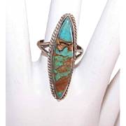 Vintage STERLING SILVER & Carico Lake Turquoise Cab Ring!