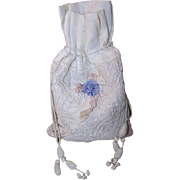 French C.1890 FIRST COMMUNION Purse, Pochette, Pouch for a Girl - Muslin & Lace!