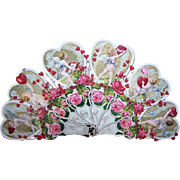 RARE Antique Victorian Chromolithograph/Die Cut Valentine Fan - A Token of Love with LOTS of Cherubs!