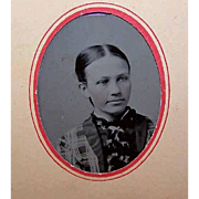 VICTORIAN Tintype of a Young Girl - Original Paper Frame with Oval Cutout!