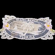 C.1950 Miami Beach, Florida Cotton Applique with Vintage Ribbon Roses!