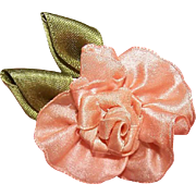Vintage AMERICAN Handmade Ribbon Rose - Peach Satin with Olive Green Leaves!