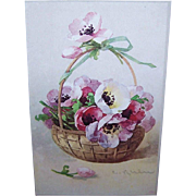 C.1960 CATHERINE KLEIN Postcard - Pink & Lavender Poppies in a Basket!