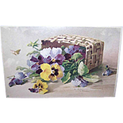 C.1960 CATHERINE KLEIN Postcard - Pansies in a Basket