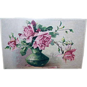 C.1960 CATHERINE KLEIN Postcard - Pink Roses in a Pot!