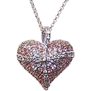 Stunning STERLING SILVER and Pink/White Cubic Zirconia/CZ Heart Pendant!