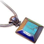 Vintage STERLING SILVER & Multi-Inlay Stone Pendant - Lapis Lazuli, Turquoise, Mother of Pearl!