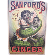 Politically Incorrect SANFORDS GINGER Victorian Trade Card - Black Child Holding Baby in Watermelon!