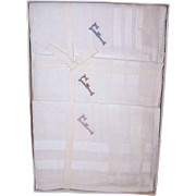 """ART DECO Boxed Set of 3 Men's Hankies - Embroidered with Initial """"F""""!"""