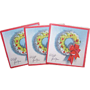 Set/3 Vintage CHRISTMAS Gift Cards with Envelopes - Christmas Wreath!