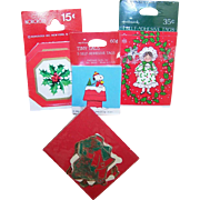 4 Packages VINTAGE Christmas Tags/Seals from Norcross, Hallmark & Tie Tie!