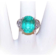 GIA Vintage 18K Gold, 5.45CT Russian Emerald & Diamond Ring - Estate Piece!