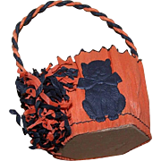 Vintage HALLOWEEN Orange/Black Candy Container of Crepe Paper - Black Cat Die Cut!