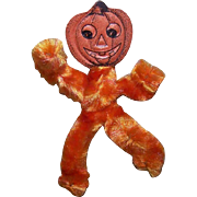 Vintage HALLOWEEN Orange Chenille & Pumpkin Head Die Cut Ornament!