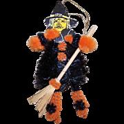 Vintage HALLOWEEN Orange Chenille & Witch Head Die Cut Ornament!