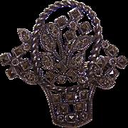 Vintage STERLING SILVER & Marcasite Pin/Brooch - Basket of Flowers!