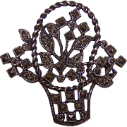 Vintage STERLING SILVER & Marcasite Pin/Brooch - Basket of Flowers!