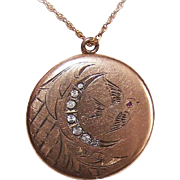 ANTIQUE VICTORIAN Gold Filled/Rose Gold Topped Locket with Rhinestones and Swallow!