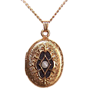 Vintage WINARD Gold Filled, Enamel & Faux Pearl Locket Pendant with Chain