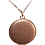 ANTIQUE VICTORIAN Gold Filled/Rose Gold Topped Round Locket!