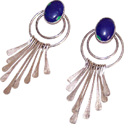 Vintage STERLING SILVER & Blue Azurite Drop Earrings for Pierced Ears!