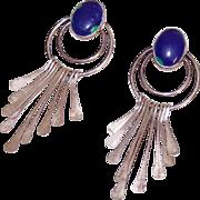 Vintage STERLING SILVER & Blue Azurite Drop Earrings for Pierced Ears