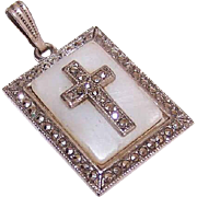 Vintage STERLING SILVER, Mother of Pearl & Marcasite Cross Pendant!