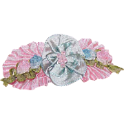 FRENCH RIBBONWORK Silk & Rayon Ribbon Floral Spray Applique/Ribbon Flower Embellishment!