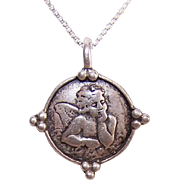 Vintage STERLING SILVER Pendant - Raphael's Cupid/Putti/Cherub! My Guardian Angel!