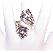 Vintage MEXICAN Sterling Silver Cross Over Ring - Retro Modern Design!