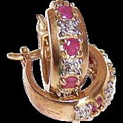 Vintage STERLING SILVER Vermeil, Ruby & Diamond Accent Earrings!