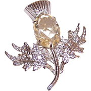 Vintage STERLING SILVER & Pale Citrine Pin - Scottish Thistle!