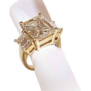 GIA Vintage 18K Gold & 6.78 CT Fancy Faint Yellow Diamond Ring w/1.06CT TW Shoulder Stones!