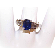 GIA 18K Gold, 1.84CT Blue Sapphire &  .41CT TW Diamond Engagement Ring by Levian!