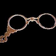ART NOUVEAU 14K Gold Lorgnettes with Fancy Curlicue Handle/Original Lenses by Carter, Gough!