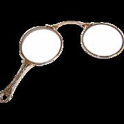 ANTIQUE EDWARDIAN 14K Gold Lorgnettes with Cutwork Handle & Original Lenses!