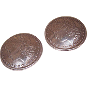 Vintage COIN SILVER Collar Studs/Belt Studs - Dated 1881 Liberty Dollars!