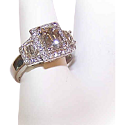 GIA Platinum, 1CT Tycoon Cut Diamond & .81CT TW Shoulder Diamonds Engagement Ring