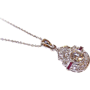 ART DECO Lavaliere Pendant - Platinum, .65CT Center Diamond, .35CT TW Ruby & Diamond Shoulder Stones!