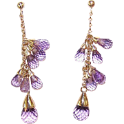 Vintage 14K Gold & Amethyst Briolette Drop Earrings - Posts with Nuts!