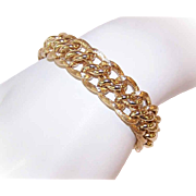 Vintage 14K Gold Link Bracelet - W-I-D-E Design with a BOLD Look!