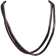 "Vintage ITALIAN Sterling Silver 20"" Snake Chain - Antique Finish - by MILOR!"