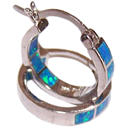 GORGEOUS Sterling Silver & Opal Composite INSIDE/OUR Hoop Earrings for Pierced Ears!