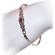Vintage STERLING SILVER & Amethyst Cuff Bracelet - Celtic Design - Easy Open Hook Latch!
