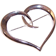 VINTAGE Open Heart STERLING SILVER Pin - Wear Your Heart on Your Sleeve!